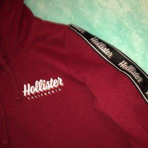 Hollister Cropped Maroon Hoodie